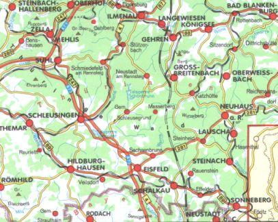 Thüringer Wald Karte.Karte östlicher Thüringer Wald